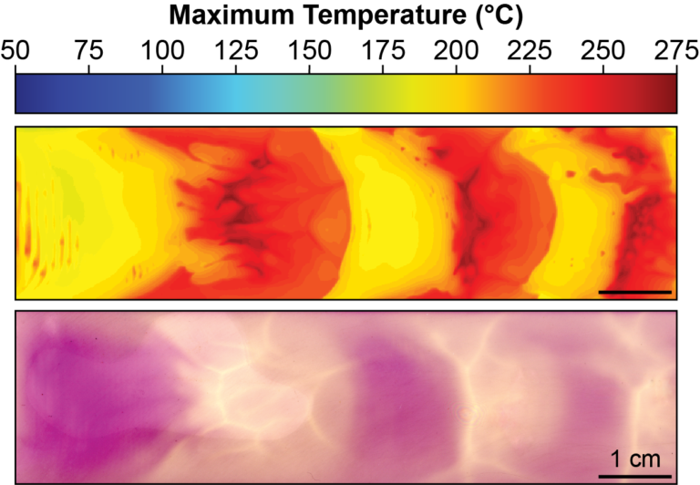 Thermochromes are utilized to pattern the optical and thermomechanical properties of poly(dicyclopentadiene) thermosets in response to the polymerization temperature. Top: maximum temperature profile. Bottom: optical image of resulting sample showing temperature dependent color changes.